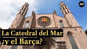 La-Catedral-del-mar-en-Barcelona-y-el-escudo-del-Barça