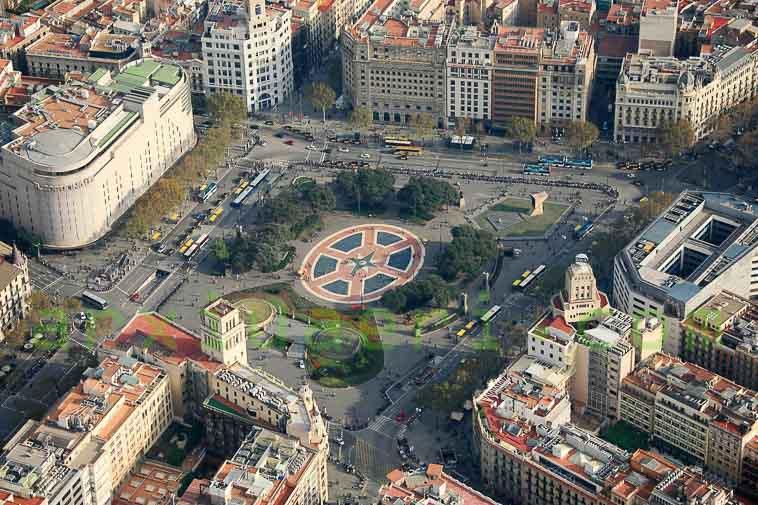 vista aerea de la plaza cataluña de barcelona