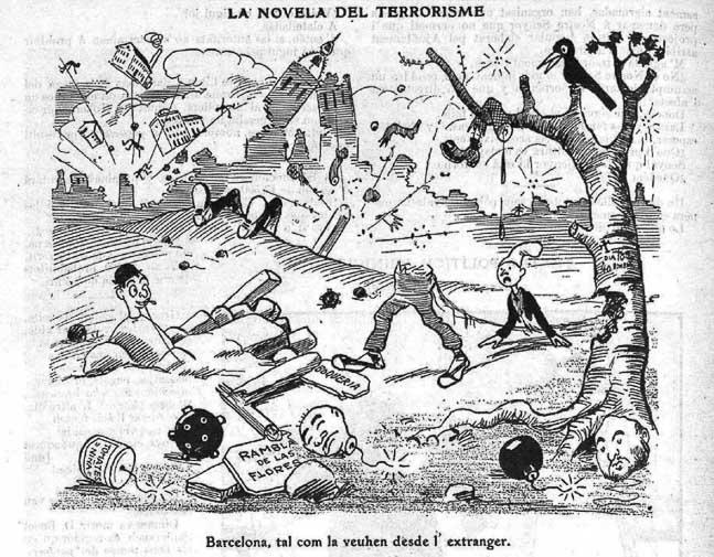 caricatura de barcelona conocida como la ciudad de las bombas